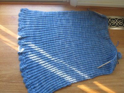 Knitted Blue Cloud Afghan