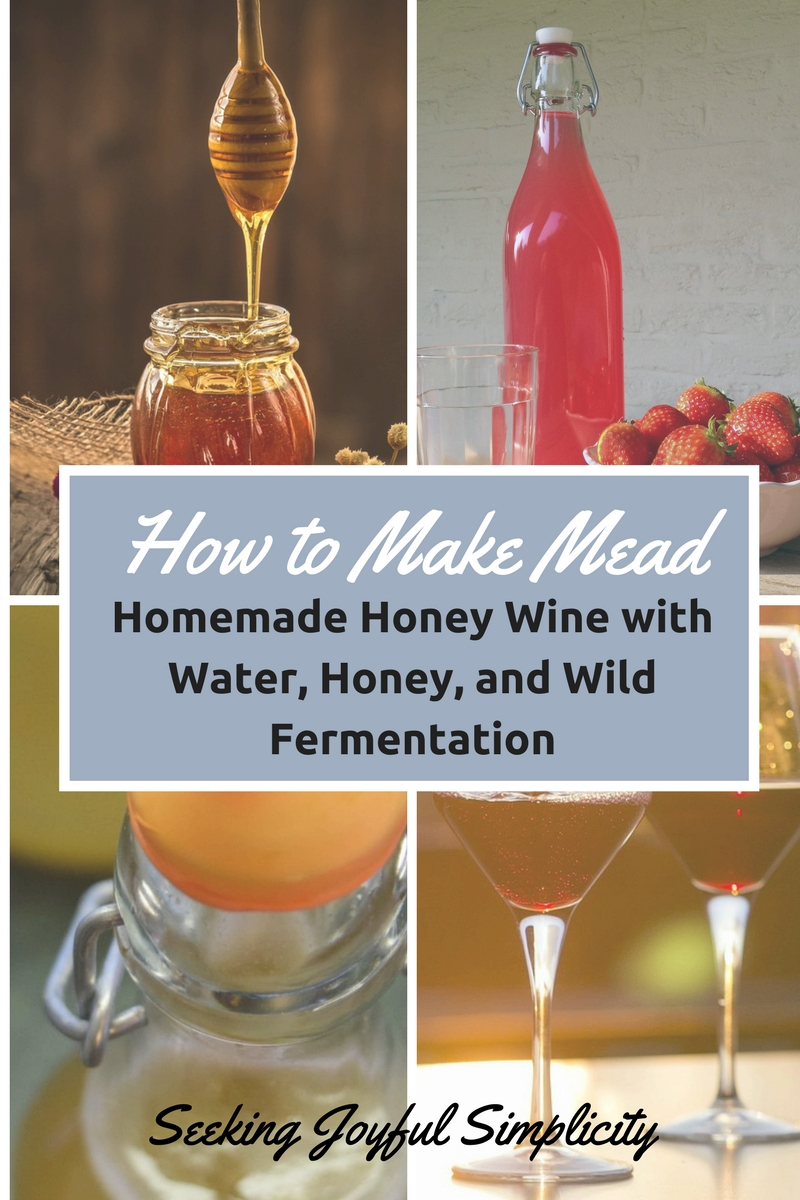 Mead, or honey wine, is an alcoholic beverage made using honey, water, and fermentation. Alcohol content? Yes, most definitely. What better act of radical homemaking than to make our own alcoholic beverage using only water, honey, and the wild yeasts around us? As the popularity of homemade honey wine increases, there are many supplies and fermentation kits available. But learning how to make mead is not complicated and you can enjoy homemade honey wine using only honey, water, and wild fermentation. I like to experiment with adding a variety of herbs for flavor, color, and other qualities. Let me show you the easy way of making herbal honey wine without a big investment in time or special supplies.