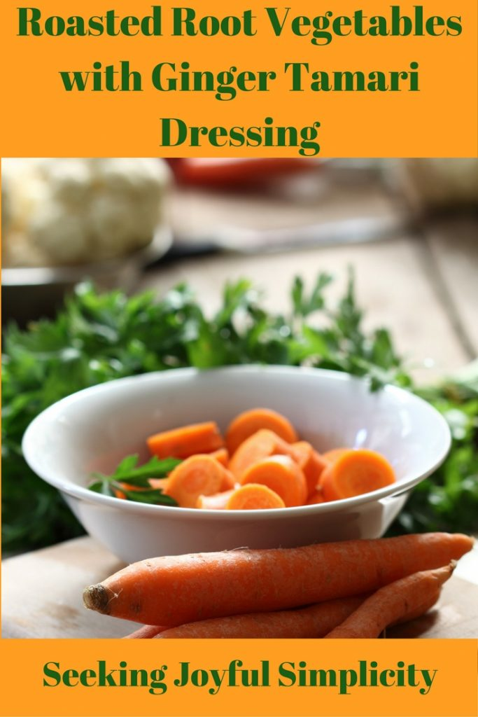 A simple, nourishing, recipe combining roasted winter vegetables with a tangy ginger tamari dressing. Choose a variety of vegetables for a rainbow of colors. I recommend making plenty for leftovers – the flavors get better!
