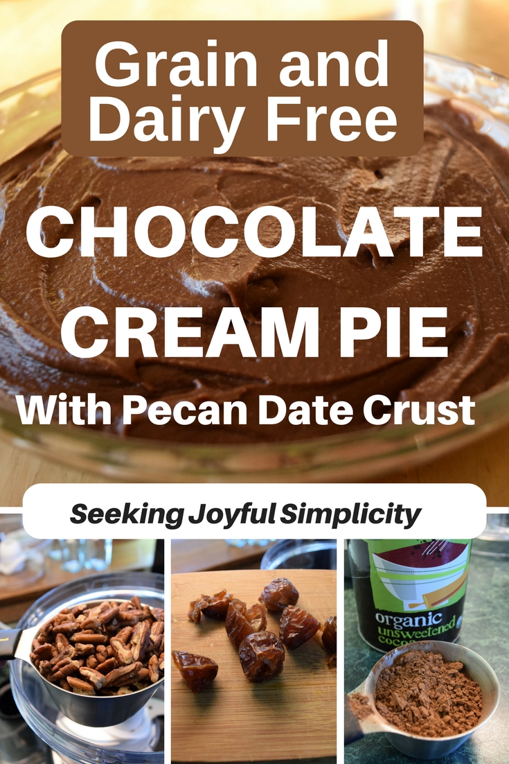 Sweetened with dates and honey, grain and dairy-free, this rich, velvety smooth chocolate cream pie is a delightfully healthy indulgence. Who knew a paleo chocolate cream pie could be so decadent! Creamy, smooth, and rich. Words to describe this delicious, healthy, raw chocolate dessert. If you are looking for a grain-free, dairy-free chocolate pie, this dessert is perfect. Filled with healthy fats, nutrient-rich proteins from cashews and pecans, high in fiber, and rich in antioxidants from the cacao, you can enjoy your dessert guilt-free!