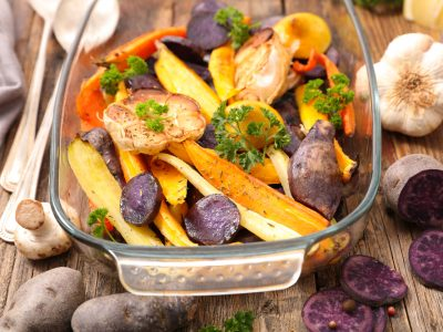 Roasted Root Vegetables with Ginger Tamari Dressing