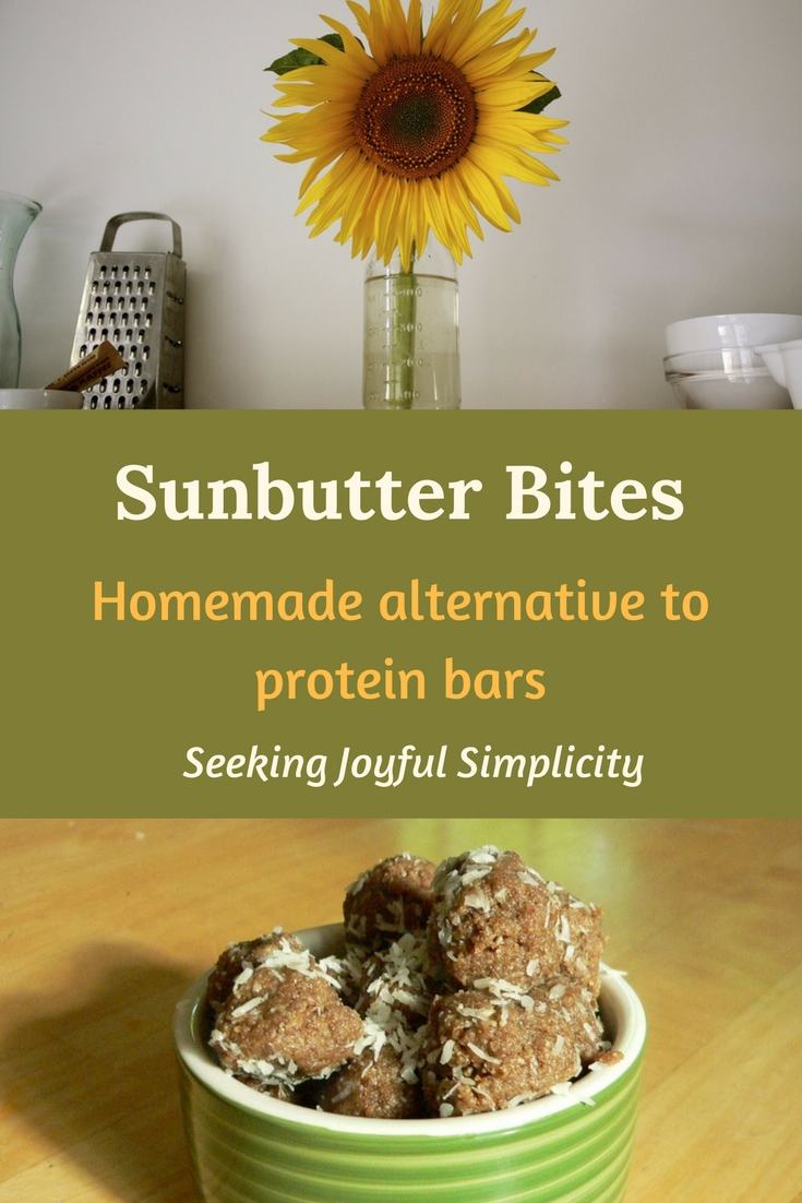 These homemade sunbutter bites are super easy to make, taste great, and are good for you. With no grains, flour, or baking, they are a delicious treat using sunflower seeds, dates, and coconut oil. They make a great homemade alternative to expensive snack and protein bars.