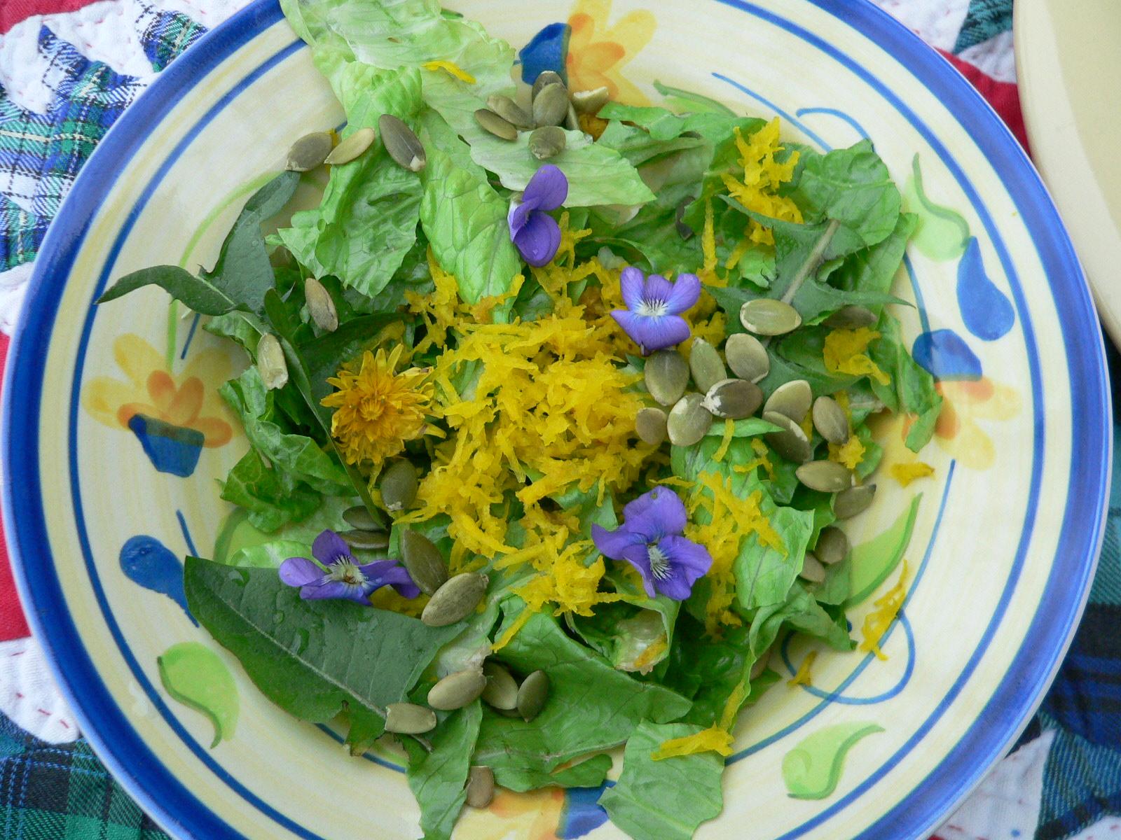 Wildflower salad violets