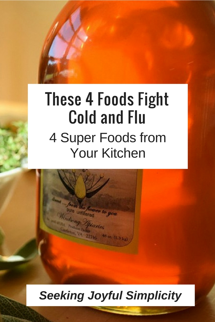 Treating our colds and flu at home doesn't requirecomplicated recipes or difficult to obtain and expensive ingredients. We can use simple foods for cold and flu. Combing raw honey with garlic, ginger, and sage makes an effective and great-tasting medicine for the entire family.