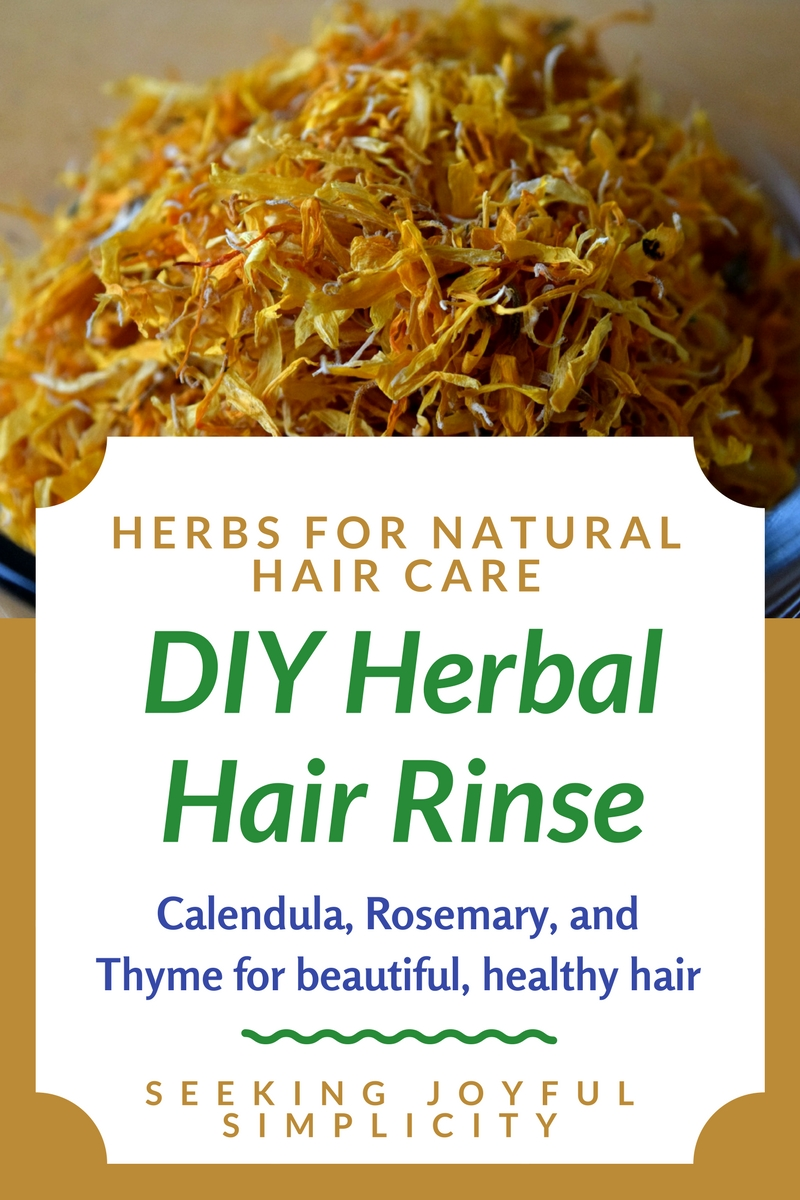 Natural hair care with a DIY herbal hair rinse recipe using rosemary, calendula, thyme, and plantain. Excellent herbs for dandruff too!
