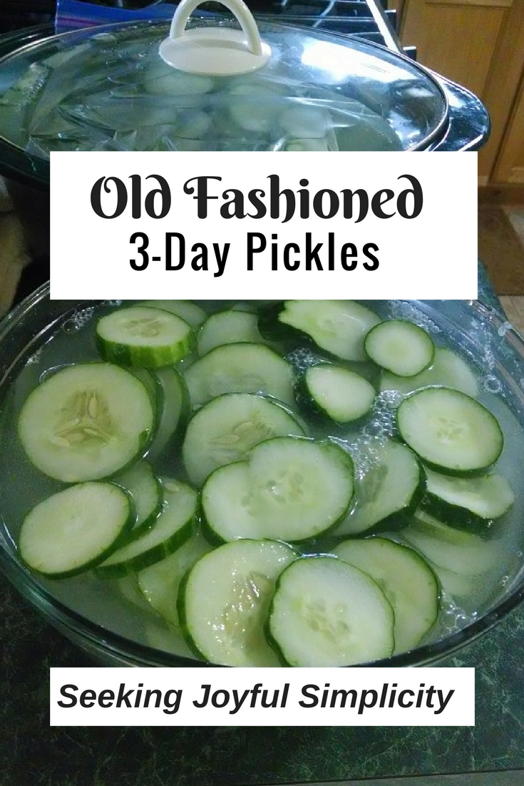 This old-fashioned  3-day pickle recipe combines pickling lime and vinegar to make extra crispy pickles. A great way to make delicious, crisp, homemade pickles.