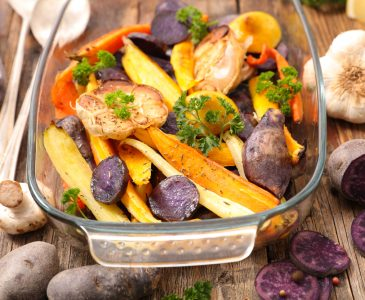 A simple, nourishing, recipe combining roasted winter vegetables with a tangy ginger tamari dressing. Choose a variety of vegetables for a rainbow of colors. I recommend making plenty for leftovers - the flavors get better!