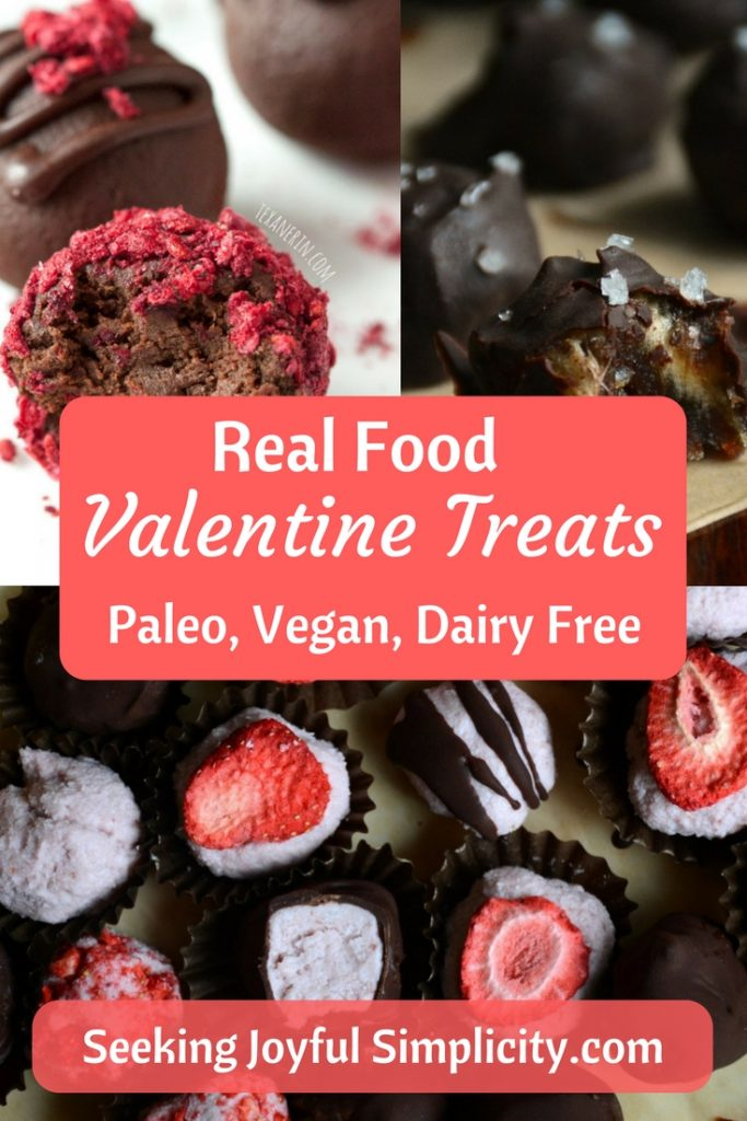 Indulge with real food valentine treats. These 9 decadent recipes offer vegan, paleo, gluten and dairy-free choices.
