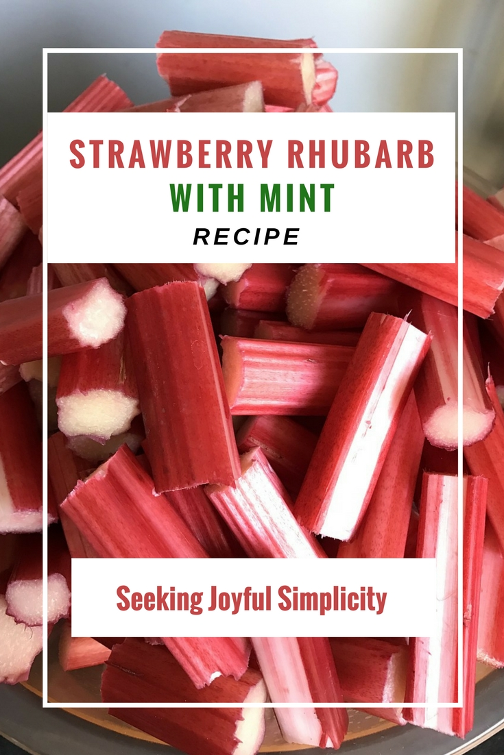 Strawberry and rhubarb recipe - what a lovely combination - red, ripe strawberries, tart rhubarb, and mint. This makes a great topping for oatmeal, yogurt, ice-cream, cake, or as part of a strawberry-rhubarb cobbler or crisp.