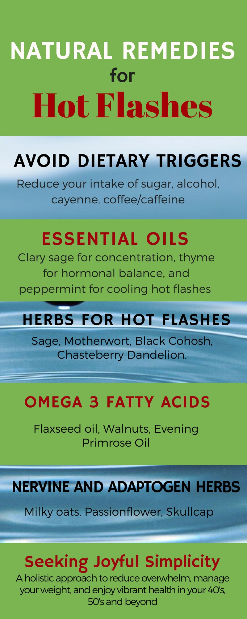 Not only uncomfortable, hot flashes can be embarrassing and happen at the most inconvenient times. There are effective natural remedies for hot flashes, and with small changes in diet and using herbs for hot flashes, many women find complete relief. #hotflashes #midlife #menopause