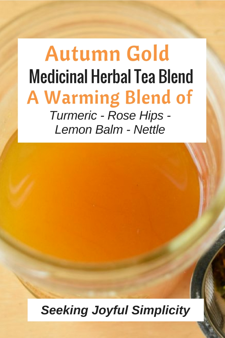The herbs in this tea blend are nourishing and warming. Perfect for supporting our immune systems as we transition to the new season. This DIY fall tea blend contains the anti-inflammatory turmeric, providing health benefits and a delightful golden glow as embrace the brisk fall season. Make your own nourishing herbal infused tea and stay healthy this fall and winter.